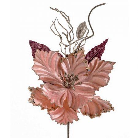Χριστουγεννιάτικο Αλεξανδρινό λουλούδι βελούδινο Ροζ 25cm