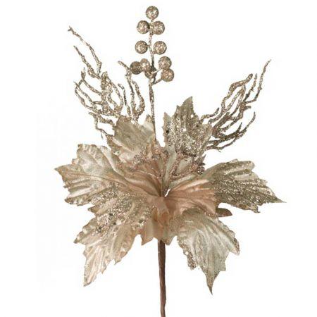 Χριστουγεννιάτικο Αλεξανδρινό λουλούδι Ροζ - Σαμπανί 65cm