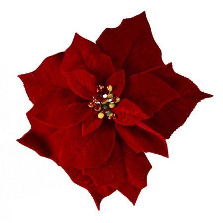 Χριστουγεννιάτικο Αλεξανδρινό λουλούδι βελούδινο Κόκκινο 25cm