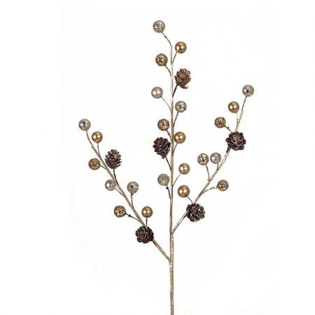 Χριστουγεννιάτικο κλαδί με berries και κουκουνάρια Χρυσό 45cm