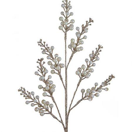 Χριστουγεννιάτικο κλαδί Berries - Γκι με glitter Εκρού - Σαμπανί 71cm