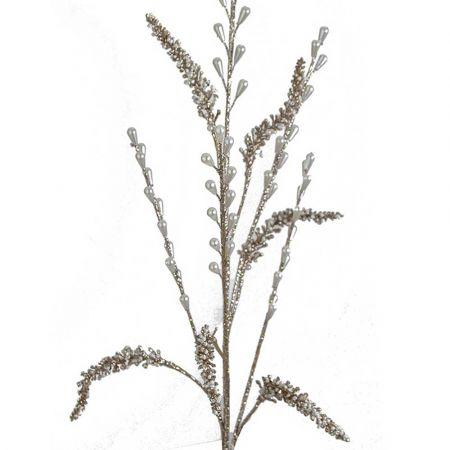 Χριστουγεννιάτικο κλαδί - Αμάρανθος με glitter και πέρλες Σαμπανί 78cm