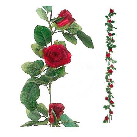 Διακοσμητική γιρλάντα με κόκκινα τριαντάφυλλα, 180cm