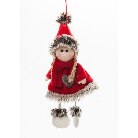 Χριστουγεννιάτικο λούτρινο κοριτσάκι 18cm
