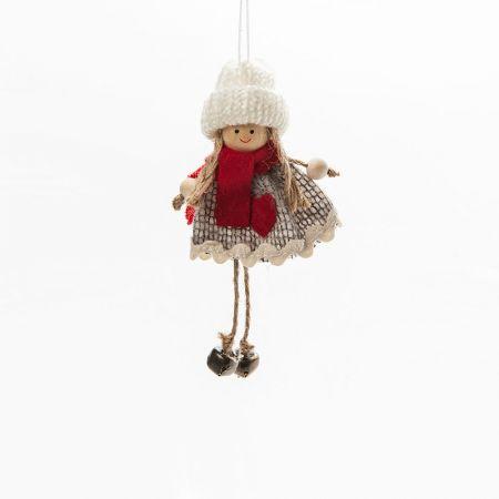 Χριστουγεννιάτικο λούτρινο κοριτσάκι 13cm