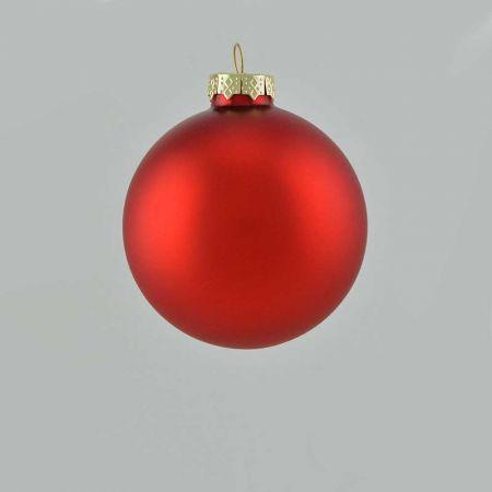 Χριστουγεννιάτικη μπάλα γυάλινη Κόκκινη ματ 8cm
