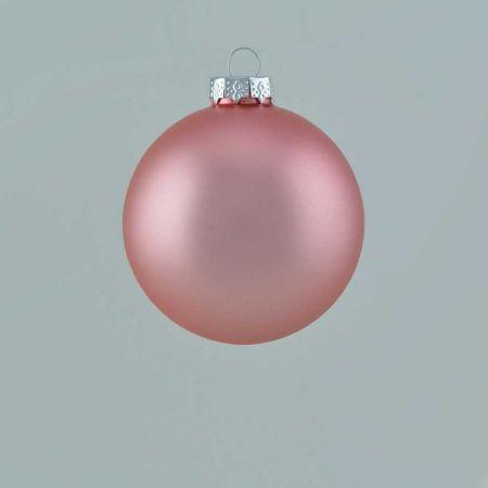 Χριστουγεννιάτικη μπάλα γυάλινη Ροζ - Copper ματ 8cm