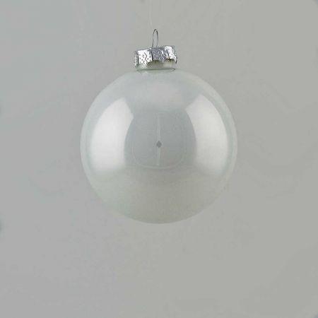 Χριστουγεννιάτικη μπάλα γυάλινη Λευκή γυαλιστερή 8cm