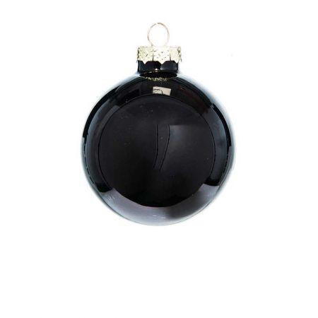 Χριστουγεννιάτικη μπάλα γυάλινη Μαύρη γυαλιστερή 8cm