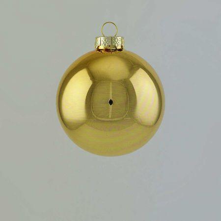 Χριστουγεννιάτικη μπάλα γυάλινη Χρυσή γυαλιστερή 8cm