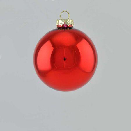 Χριστουγεννιάτικη μπάλα γυάλινη Κόκκινη γυαλιστερή 8cm