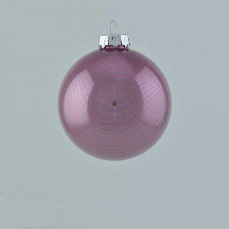 Χριστουγεννιάτικη μπάλα γυάλινη Γκρι - Μωβ γυαλιστερή 8cm