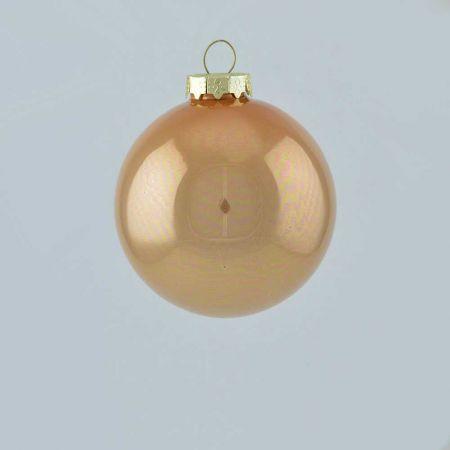 Χριστουγεννιάτικη μπάλα γυάλινη Μπεζ - Καφέ γυαλιστερή 8cm