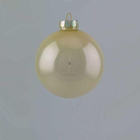 Χριστουγεννιάτικη μπάλα γυάλινη Σαμπανί γυαλιστερή 8cm