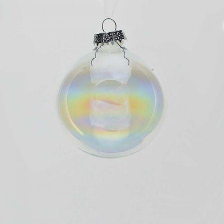 Χριστουγεννιάτικη μπάλα γυάλινη Διάφανη - Ιριδίζουσα γυαλιστερή 8cm