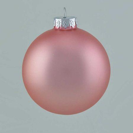 Χριστουγεννιάτικη μπάλα γυάλινη Ροζ - Copper ματ 10cm