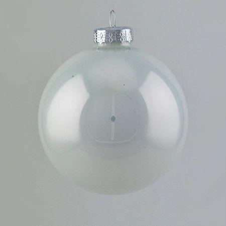 Χριστουγεννιάτικη μπάλα γυάλινη Λευκή γυαλιστερή 10cm