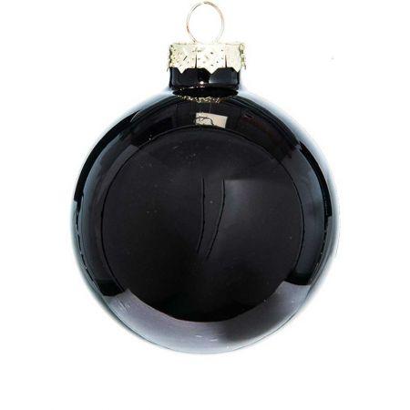 Χριστουγεννιάτικη μπάλα γυάλινη Μαύρη γυαλιστερή 10cm