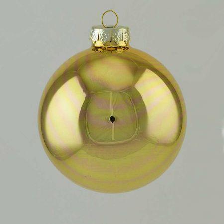 Χριστουγεννιάτικη μπάλα γυάλινη Χρυσή γυαλιστερή 10cm