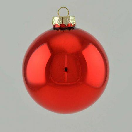 Χριστουγεννιάτικη μπάλα γυάλινη Κόκκινη γυαλιστερή 10cm