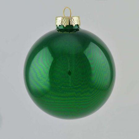 Χριστουγεννιάτικη μπάλα γυάλινη Πράσινη γυαλιστερή 10cm