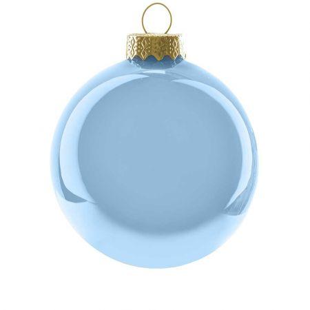 Χριστουγεννιάτικη μπάλα γυάλινη Γαλάζια γυαλιστερή 10cm
