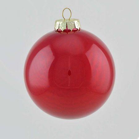 Χριστουγεννιάτικη μπάλα γυάλινη Κόκκινο σκούρο γυαλιστερό 10cm