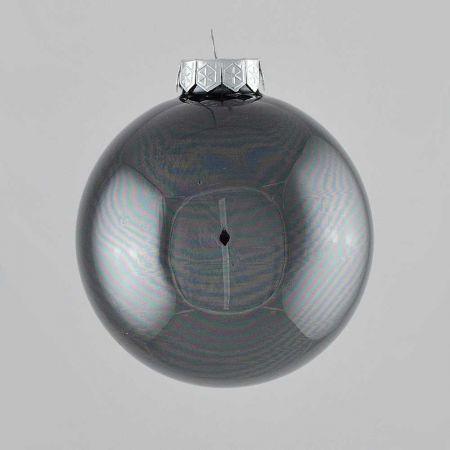 Χριστουγεννιάτικη μπάλα γυάλινη Ανθρακί γυαλιστερή 10cm