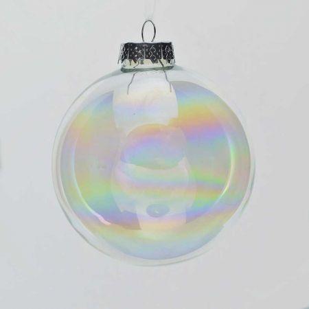Χριστουγεννιάτικη μπάλα γυάλινη Διάφανη - Ιριδίζουσα γυαλιστερή 10cm