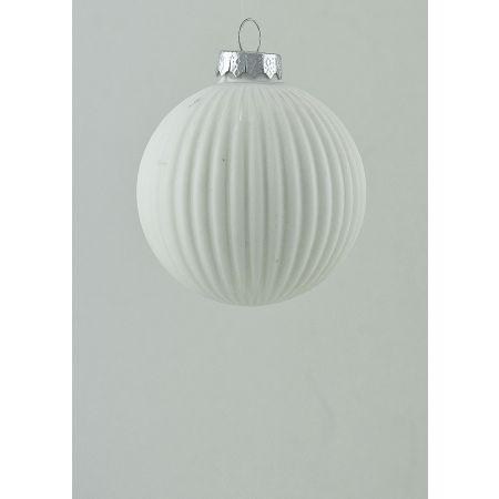 Χριστουγεννιάτικη μπάλα γυάλινη πλισέ Λευκή 8cm