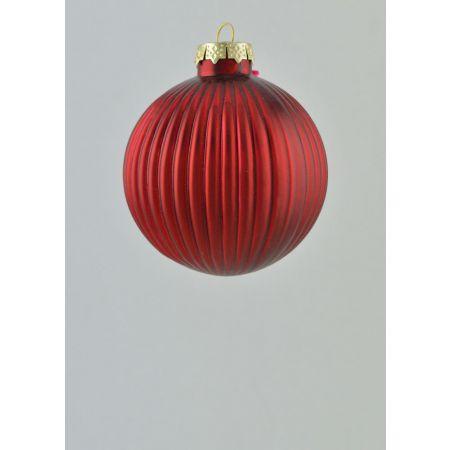 Χριστουγεννιάτικη μπάλα πλισέ Κόκκινη 8cm
