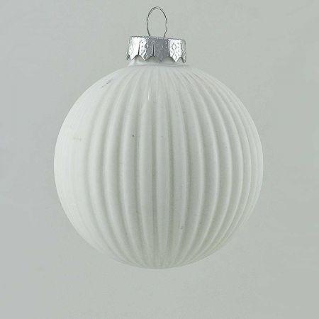 Γυάλινη Χριστουγεννιάτικη μπάλα πλισέ Λευκή ματ 10cm