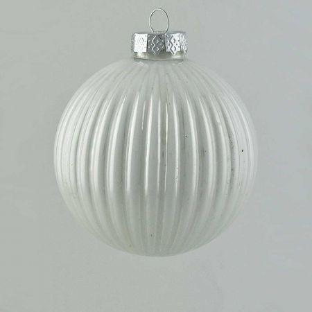 Γυάλινη Χριστουγεννιάτικη μπάλα πλισέ Λευκή γυαλιστερή 10cm