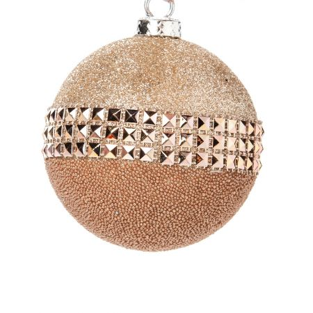 Χριστουγεννιάτικη μπάλα Σαμπανιζέ με glitter 15cm
