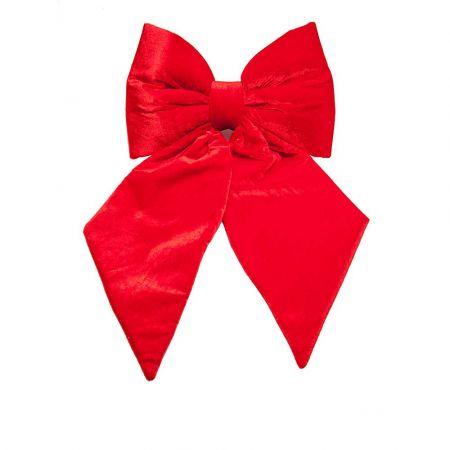 XL Βελούδινος Χριστουγεννιάτικος φιόγκος Κόκκινος 40x40cm