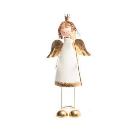 Χριστουγεννιάτικο μεταλλικό αγγελάκι Λευκό - Μπρονζέ 24cm
