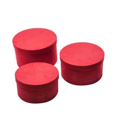 Σετ 3τχ βελούδινα κουτιά δώρου κυλινδρικά Κόκκινα 10/12/14cm (Ύψος)