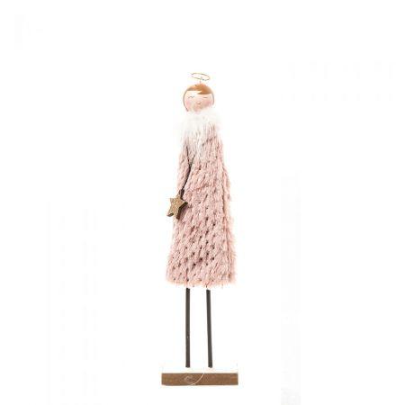Ξύλινο αγγελάκι με γούνινο φόρεμα Ροζ 32,5cm