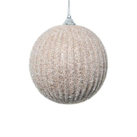 Χριστουγεννιάτικη μπάλα πλαστική με glitter Σαμπανί 10cm