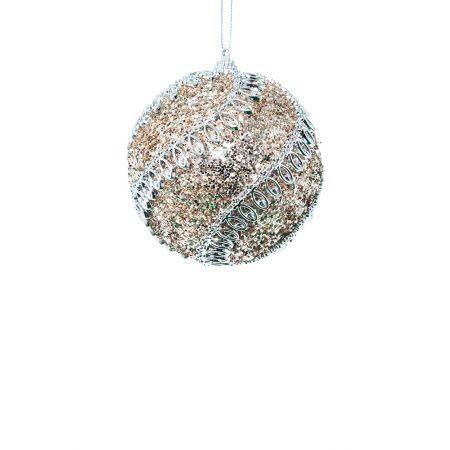 Χριστουγεννιάτικη μπάλα πλαστική με glitter Ασημί 8cm