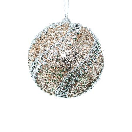 Χριστουγεννιάτικη μπάλα πλαστική με glitter Ασημί 10cm