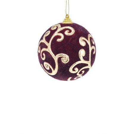 Χριστουγεννιάτικη μπάλα βελούδινη Μπορντό 8cm