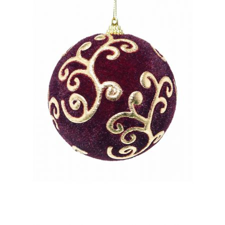 Χριστουγεννιάτικη μπάλα βελούδινη Μπορντό 10cm