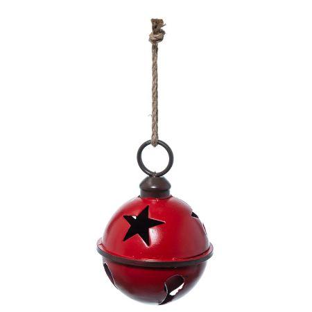 Χριστουγεννιάτικη καμπάνα - μπάλα μεταλλική Κόκκινη  25cm