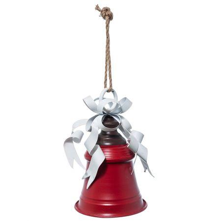 Χριστουγεννιάτικη καμπάνα μεταλλική Κόκκινη 30cm