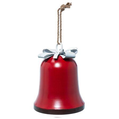 Χριστουγεννιάτικη καμπάνα μεταλλική Κόκκινη 35cm