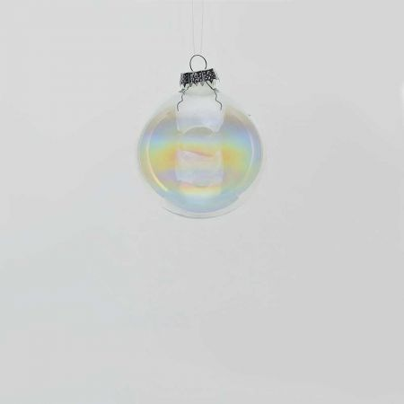 Χριστουγεννιάτικη μπάλα γυάλινη Διάφανη - Ιριδίζουσα γυαλιστερή 6cm