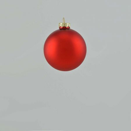 Χριστουγεννιάτικη μπάλα γυάλινη Κόκκινη ματ 6cm