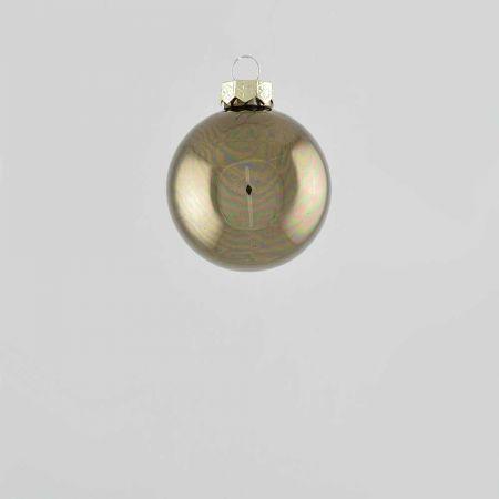 Χριστουγεννιάτικη μπάλα γυάλινη Γκρι - Καφέ γυαλιστερή 6cm
