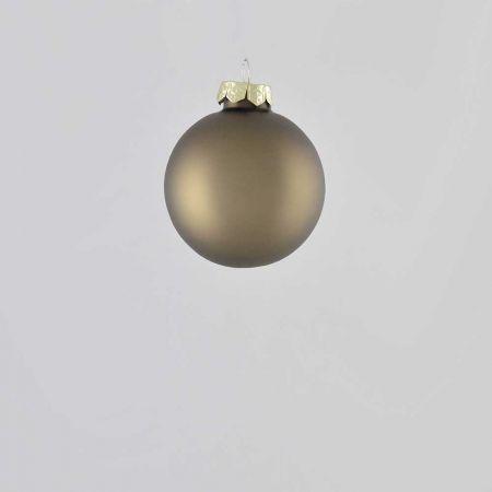 Χριστουγεννιάτικη μπάλα γυάλινη Γκρι - Καφέ ματ 6cm